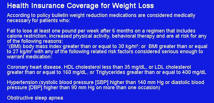 Health Insurance Coverage for Weight Loss