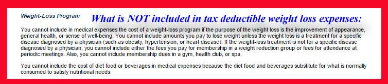 tax deduction for weight loss camp - what is excluded?