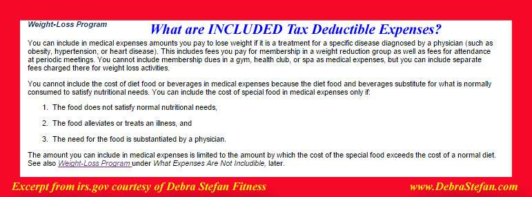 IRS included tax deduction for weight loss camp expenses